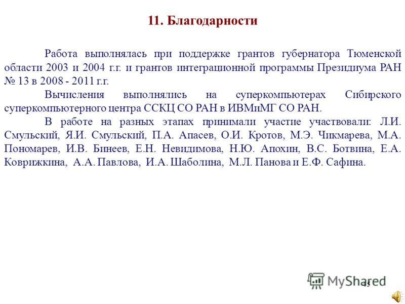 45 11. Благодарности Работа выполнялась при поддержке грантов губернатора Тюменской области 2003 и 2004 г.г. и грантов интеграционной программы Президиума РАН 13 в 2008 - 2011 г.г. Вычисления выполнялись на суперкомпьютерах Сибирского суперкомпьютерн