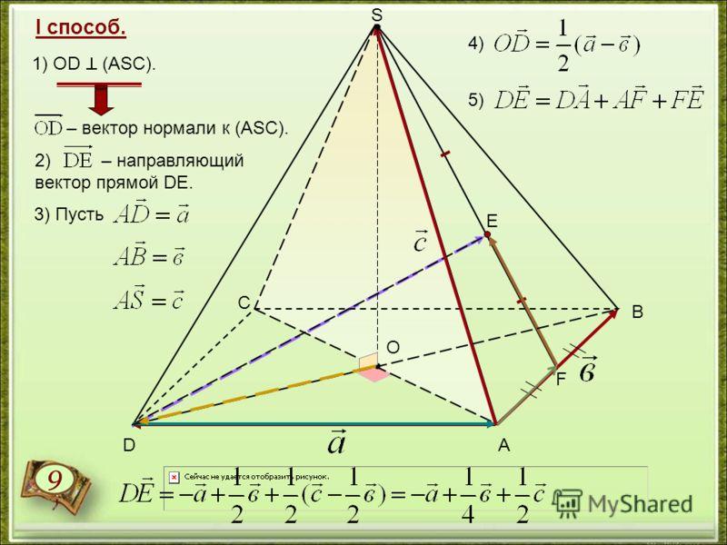 1) ОD (АSC). 3) Пусть – вектор нормали к (АSС). 2) – направляющий вектор прямой DE. 4) 5) А В С D S F Е 9 I способ. О