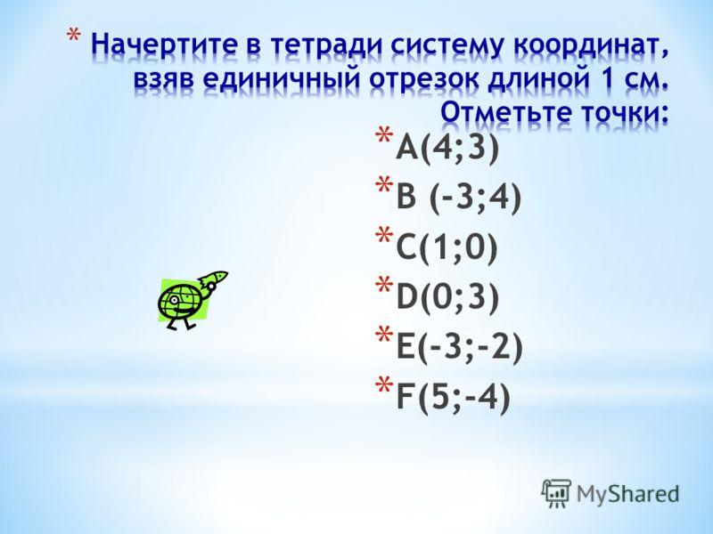 9 012345-5-4-3-2 -2 -3 -4 1 2 34 Y X Определение координат точки А(4;2) В(-3;-1) абсцисса ордината Х=4 У=2