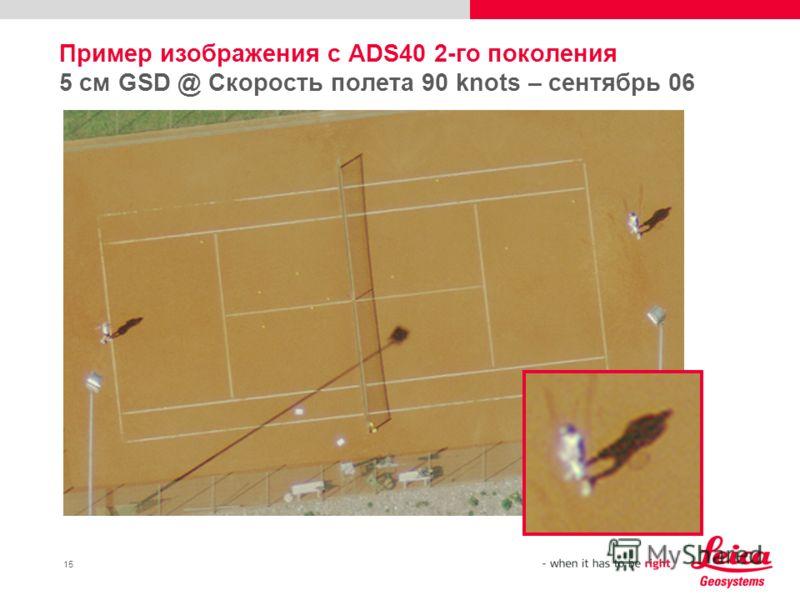 15 Пример изображения с ADS40 2-го поколения 5 см GSD @ Скорость полета 90 knots – сентябрь 06