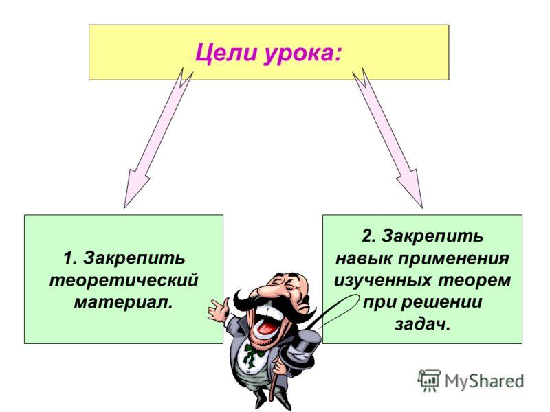 Цели урока: 1.Закрепить теоретический материал. 2. Закрепить навык применения изученных теорем при решении задач.