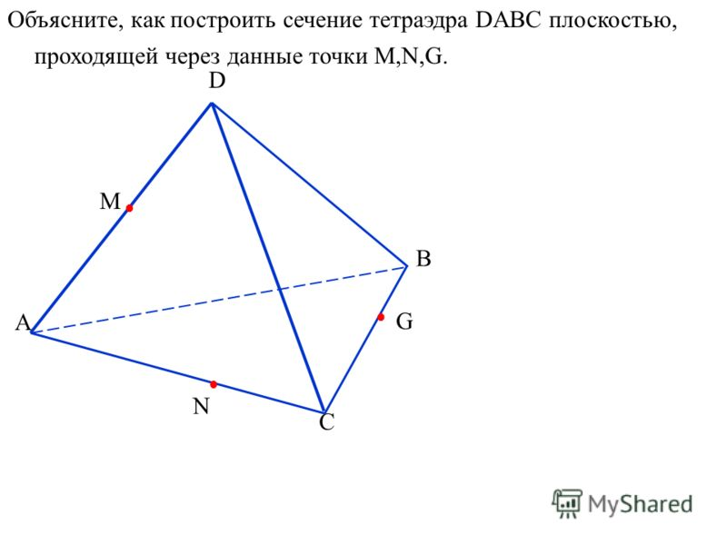 А D B C N M G Объясните, как построить сечение тетраэдра DABC плоскостью, проходящей через данные точки M,N,G.