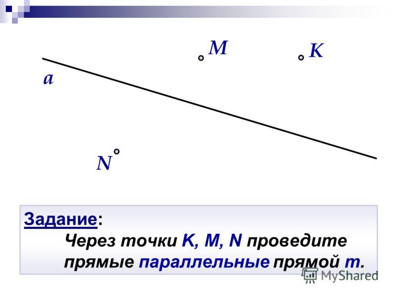 Задание: Через точки K, M, N проведите прямые параллельные прямой m. N K a M