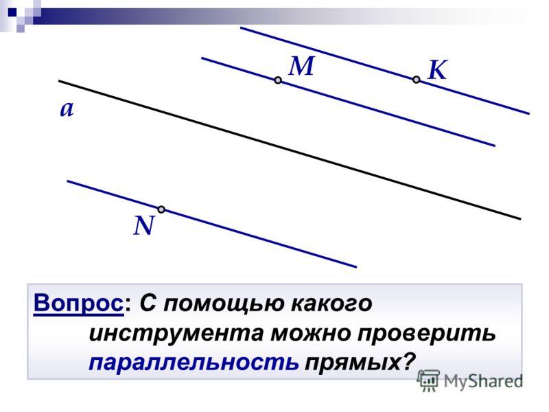 Вопрос: С помощью какого инструмента можно проверить параллельность прямых? N K a M
