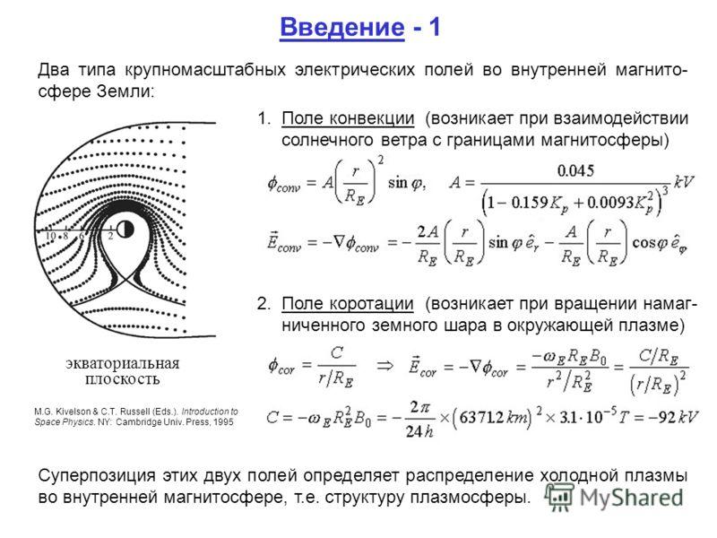 экваториальная плоскость M.G. Kivelson & C.T. Russell (Eds.). Introduction to Space Physics. NY: Cambridge Univ. Press, 1995 Введение - 1 Два типа крупномасштабных электрических полей во внутренней магнито- сфере Земли: 1. Поле конвекции (возникает п