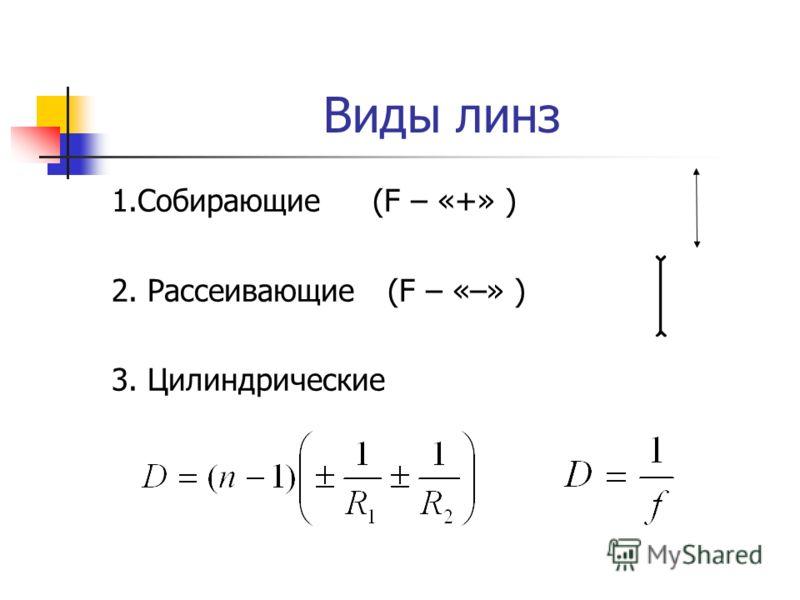 Виды линз 1.Собирающие (F – «+» ) 2. Рассеивающие (F – «–» ) 3. Цилиндрические