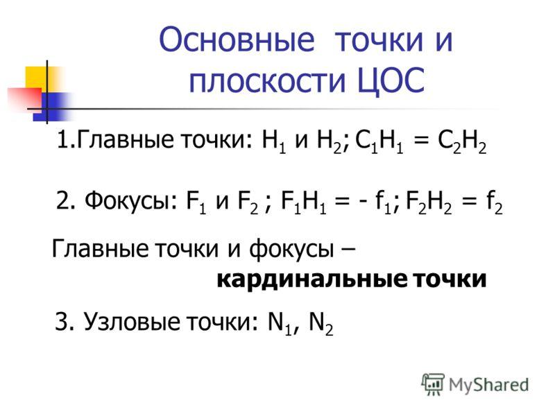 Основные точки и плоскости ЦОС 1.Главные точки: H 1 и H 2 ; C 1 H 1 = C 2 H 2 2. Фокусы: F 1 и F 2 ; F 1 H 1 = - f 1 ; F 2 H 2 = f 2 Главные точки и фокусы – кардинальные точки 3. Узловые точки: N 1, N 2