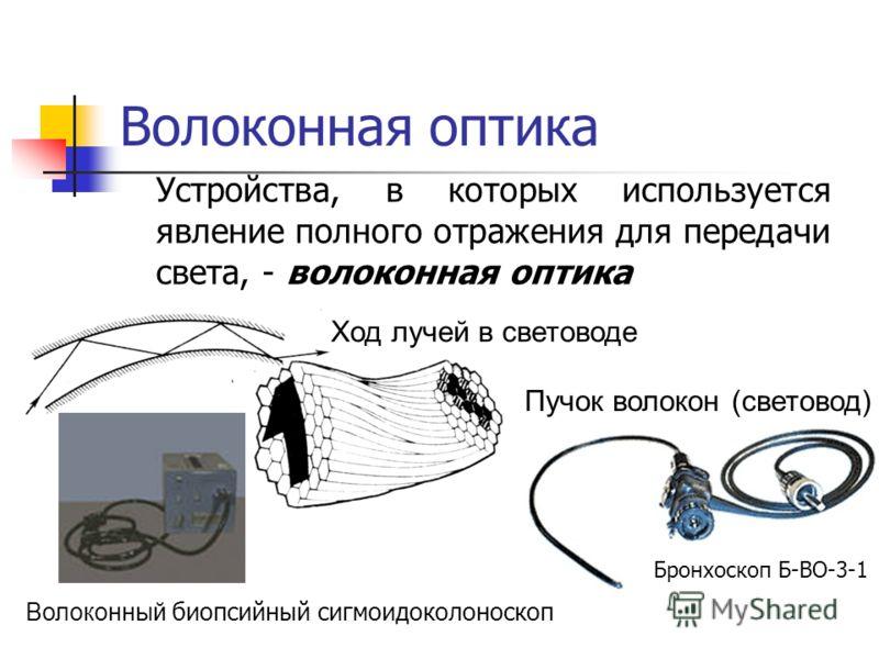 Волоконная оптика Устройства, в которых используется явление полного отражения для передачи света, - волоконная оптика Ход лучей в световоде Пучок волокон (световод) Волоконный биопсийный сигмоидоколоноскоп Бронхоскоп Б-ВО-3-1