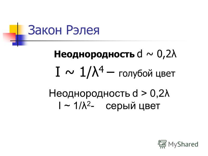 Закон Рэлея Неоднородность d ~ 0,2λ I ~ 1/λ 4 – голубой цвет Неоднородность d > 0,2λ I ~ 1/λ 2 - серый цвет
