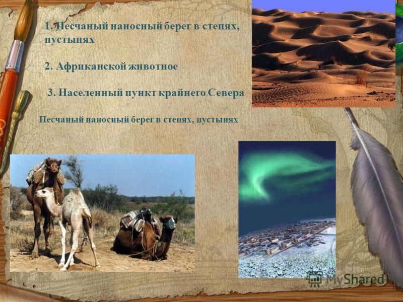 1. Песчаный наносный берег в степях, пустынях 2. Африканской животное 3. Населенный пункт крайнего Севера Песчаный наносный берег в степях, пустынях