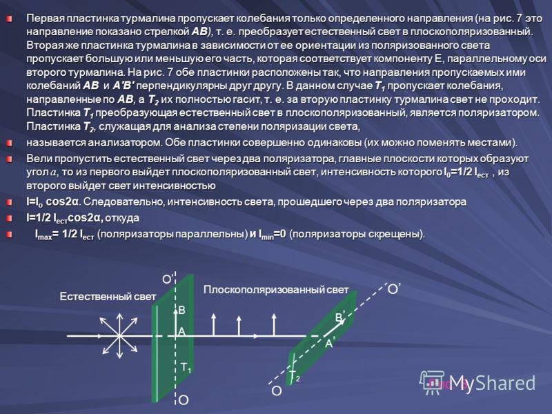 Первая пластинка турмалина пропускает колебания только определенного направления (на рис. 7 это направление показано стрелкой АВ), т. е. преобразует естественный свет в плоскополяризованный. Вторая же пластинка турмалина в зависимости от ее ориентаци