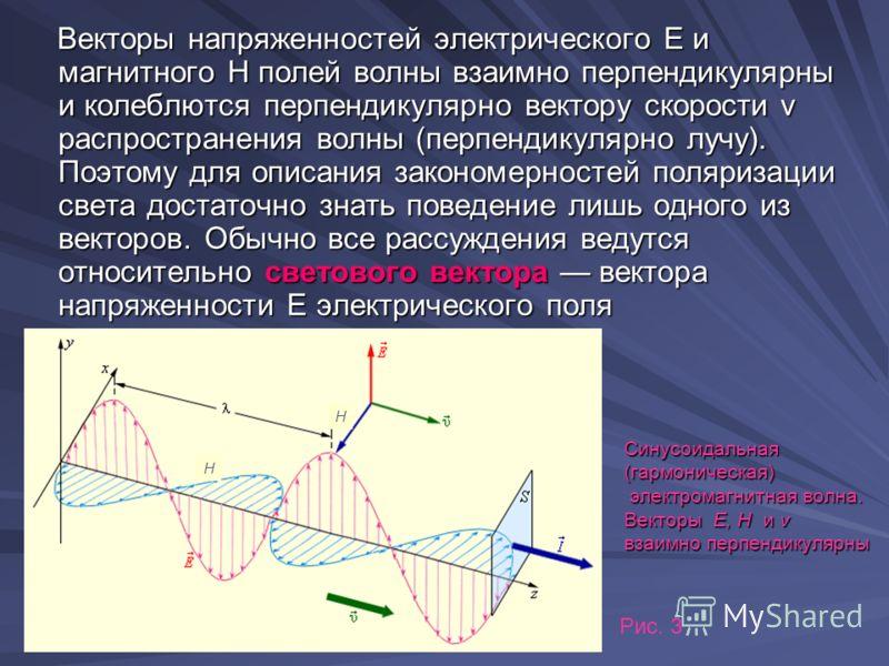Векторы напряженностей электрического Е и магнитного Н полей волны взаимно перпендикулярны и колеблются перпендикулярно вектору скорости v распространения волны (перпендикулярно лучу). Поэтому для описания закономерностей поляризации света достаточно