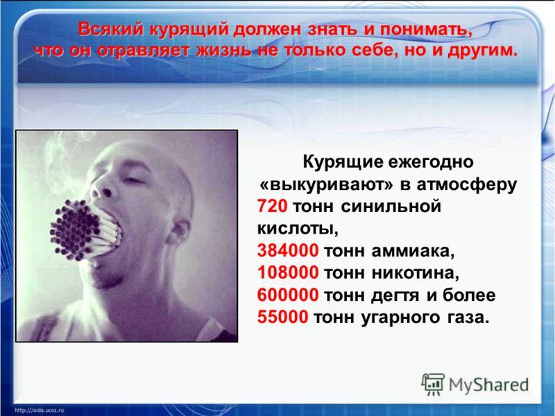 Курящие ежегодно «выкуривают» в атмосферу 720 тонн синильной кислоты, 384000 тонн аммиака, 108000 тонн никотина, 600000 тонн дегтя и более 55000 тонн угарного газа. Всякий курящий должен знать и понимать, что он отравляет жизнь не только себе, но и д