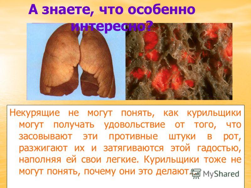 Некурящие не могут понять, как курильщики могут получать удовольствие от того, что засовывают эти противные штуки в рот, разжигают их и затягиваются этой гадостью, наполняя ей свои легкие. Курильщики тоже не могут понять, почему они это делают… А зна