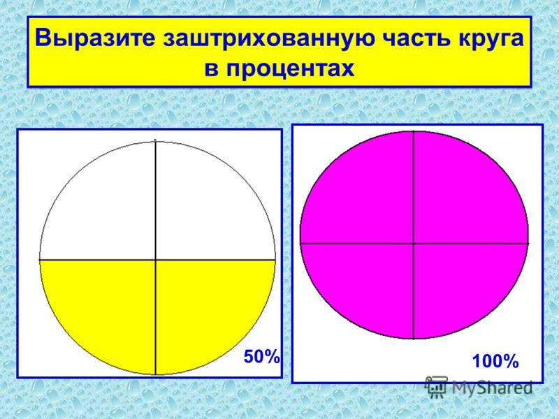 Выразите заштрихованную часть круга в процентах 50% 100%
