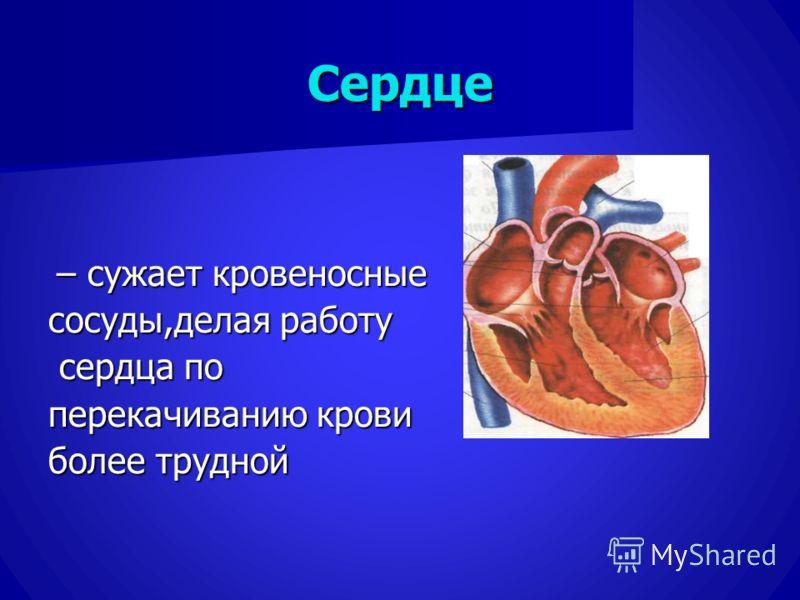 Сердце – сужает кровеносные – сужает кровеносные сосуды,делая работу сердца по сердца по перекачиванию крови более трудной