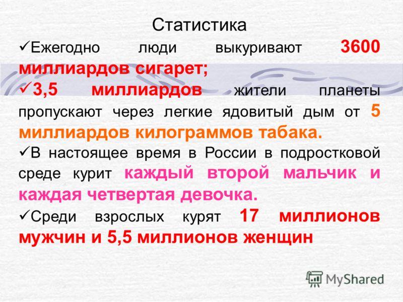 Статистика Ежегодно люди выкуривают 3600 миллиардов сигарет; 3,5 миллиардов жители планеты пропускают через легкие ядовитый дым от 5 миллиардов килограммов табака. В настоящее время в России в подростковой среде курит каждый второй мальчик и каждая ч