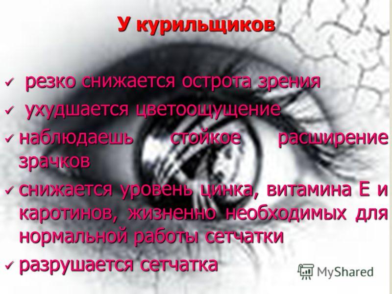 У курильщиков резко снижается острота зрения резко снижается острота зрения ухудшается цветоощущение ухудшается цветоощущение наблюдаешь стойкое расширение зрачков наблюдаешь стойкое расширение зрачков снижается уровень цинка, витамина Е и каротинов,