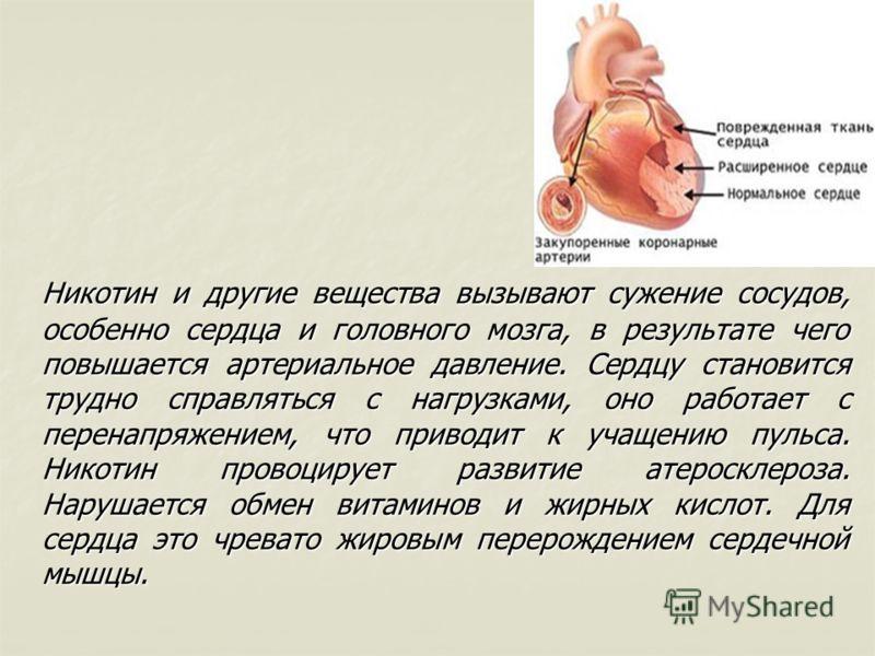 Никотин и другие вещества вызывают сужение сосудов, особенно сердца и головного мозга, в результате чего повышается артериальное давление. Сердцу становится трудно справляться с нагрузками, оно работает с перенапряжением, что приводит к учащению пуль