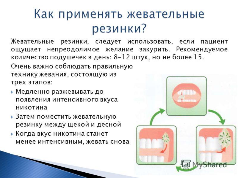 Жевательные резинки, следует использовать, если пациент ощущает непреодолимое желание закурить. Рекомендуемое количество подушечек в день: 8-12 штук, но не более 15. Очень важно соблюдать правильную технику жевания, состоящую из трех этапов: Медленно
