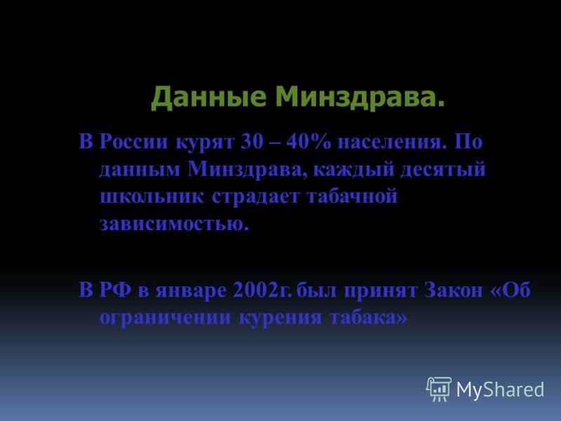 Данные Минздрава. В России курят 30 – 40% населения. По данным Минздрава, каждый десятый школьник страдает табачной зависимостью. В РФ в январе 2002г. был принят Закон «Об ограничении курения табака»