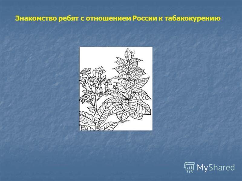 Знакомство ребят с отношением России к табакокурению