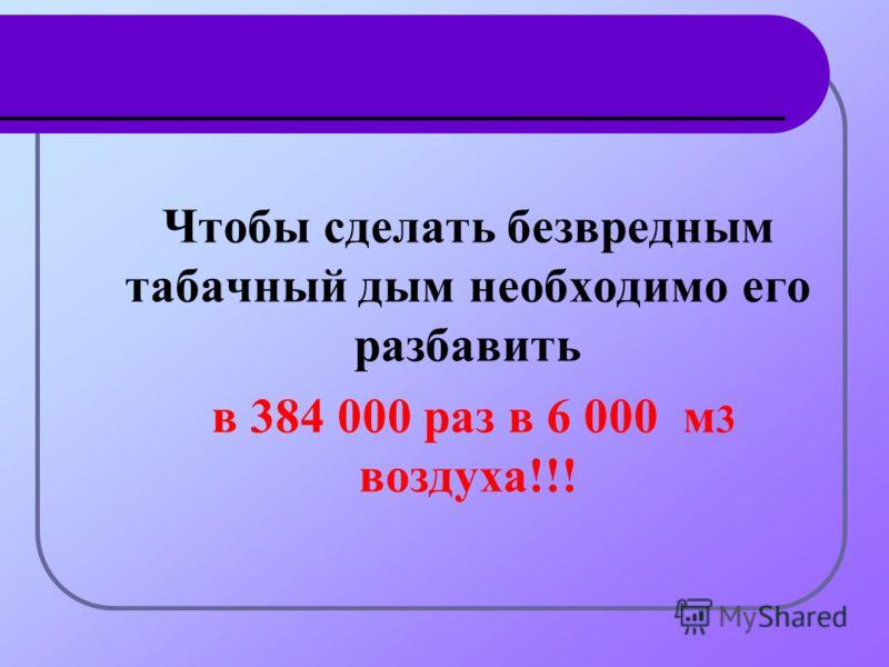 Чтобы сделать безвредным табачный дым необходимо его разбавить в 384 000 раз в 6 000 м 3 воздуха!!!