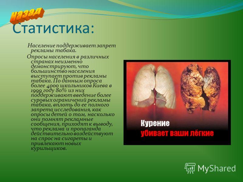 Статистика: Население поддерживает запрет рекламы табака. Опросы населения в различных странах неизменно демонстрируют, что большинство населения выступает против рекламы табака. По данным опроса более 4000 школьников Киева в 1999 году 80% из них под