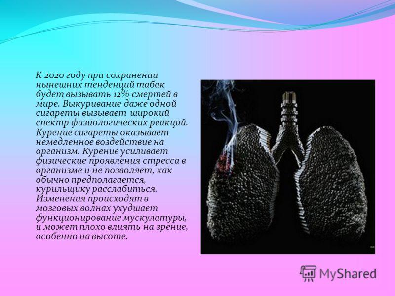 К 2020 году при сохранении нынешних тенденций табак будет вызывать 12% смертей в мире. Выкуривание даже одной сигареты вызывает широкий спектр физиологических реакций. Курение сигареты оказывает немедленное воздействие на организм. Курение усиливает