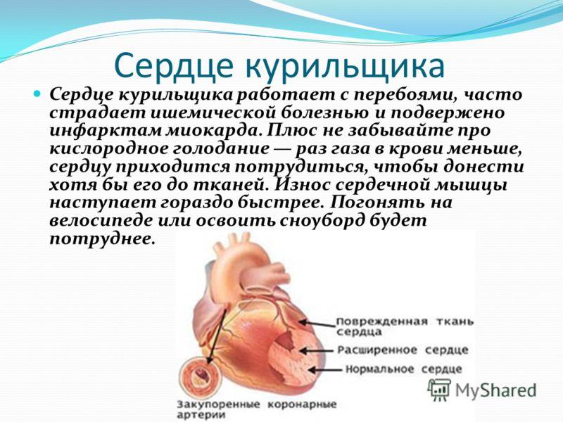 Сердце курильщика Сердце курильщика работает с перебоями, часто страдает ишемической болезнью и подвержено инфарктам миокарда. Плюс не забывайте про кислородное голодание раз газа в крови меньше, сердцу приходится потрудиться, чтобы донести хотя бы е