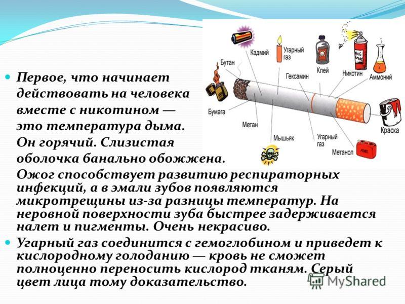 Первое, что начинает действовать на человека вместе с никотином это температура дыма. Он горячий. Слизистая оболочка банально обожжена. Ожог способствует развитию респираторных инфекций, а в эмали зубов появляются микротрещины из-за разницы температу