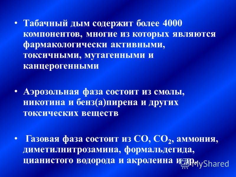Табачный дым содержит более 4000 компонентов, многие из которых являются фармакологически активными, токсичными, мутагенными и канцерогенными Аэрозольная фаза состоит из смолы, никотина и бенз(а)пирена и других токсических веществ Газовая фаза состои