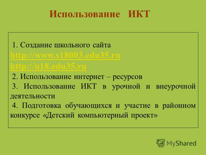 Использование ИКТ 1. Создание школьного сайта http://www.s18003.edu35.ru http://www.s18003.edu35.ru http://u18.edu35.ru 2. Использование интернет – ресурсов 3. Использование ИКТ в урочной и внеурочной деятельности 4. Подготовка обучающихся и участие