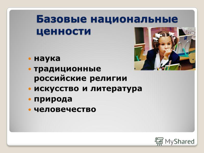 Базовые национальные ценности наука традиционные российские религии искусство и литература природа человечество