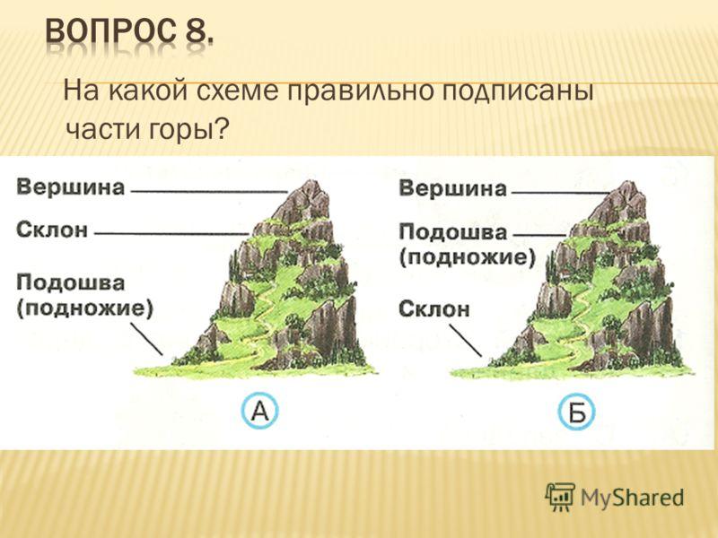 На какой схеме правильно подписаны части горы?
