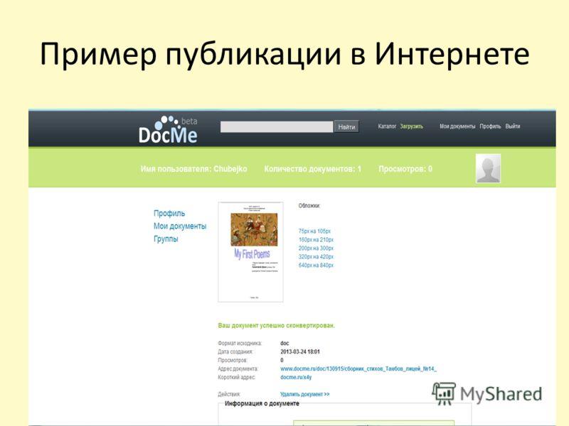 Пример публикации в Интернете