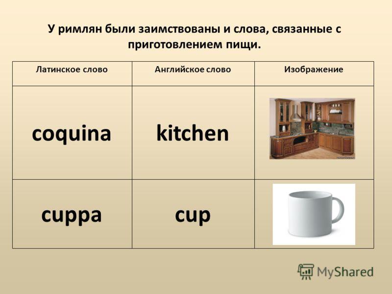 У римлян были заимствованы и слова, связанные с приготовлением пищи. coquinakitchen cuppacup Латинское словоАнглийское словоИзображение