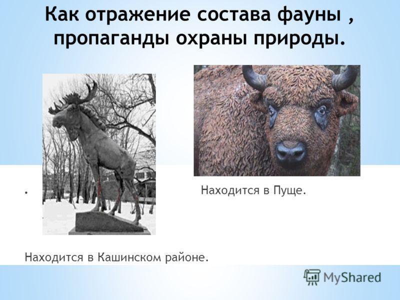 Как отражение состава фауны, пропаганды охраны природы. Находится в Пуще. Находится в Кашинском районе.