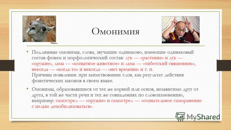 Омонимия Подлинные омонимы, слова, звучащие одинаково, имеющие одинаковый состав фонем и морфологический состав: лук «растение» и лук «оружие», лама «копытное животное» и лама «тибетский священник», некогда «когда-то» и некогда «нет времени» и т. п
