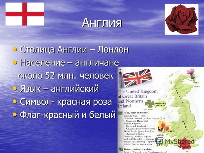 Англия Столица Англии – Лондон Столица Англии – Лондон Население – англичане Население – англичане около 52 млн. человек около 52 млн. человек Язык – английский Язык – английский Символ- красная роза Символ- красная роза Флаг-красный и белый Флаг-кра