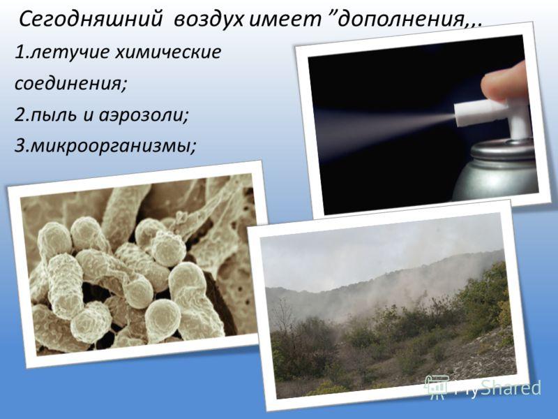 Сегодняшний воздух имеет дополнения,,. 1.летучие химические соединения; 2.пыль и аэрозоли; 3.микроорганизмы;