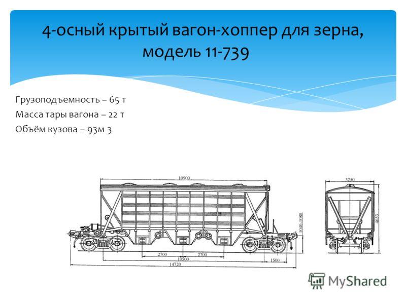 Грузоподъемность – 65 т Масса тары вагона – 22 т Объём кузова – 93м 3 4-осный крытый вагон-хоппер для зерна, модель 11-739