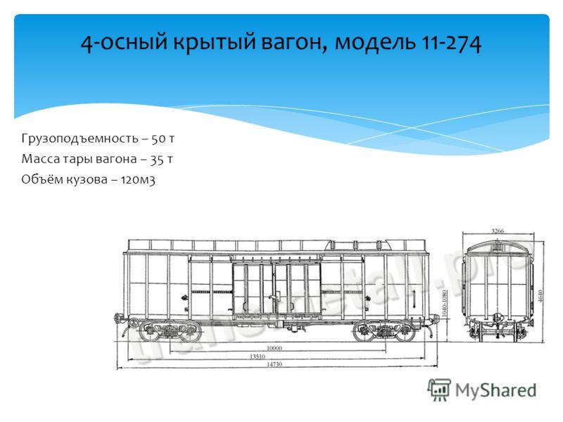Грузоподъемность – 50 т Масса тары вагона – 35 т Объём кузова – 120м3 4-осный крытый вагон, модель 11-274
