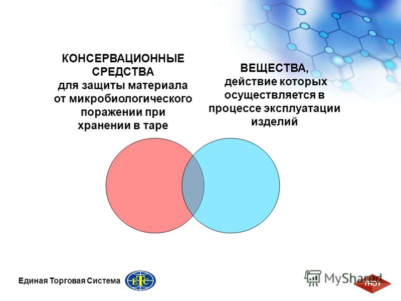 3 Единая Торговая Система КОНСЕРВАЦИОННЫЕ СРЕДСТВА для защиты материала от микробиологического поражении при хранении в таре ВЕЩЕСТВА, действие которых осуществляется в процессе эксплуатации изделий