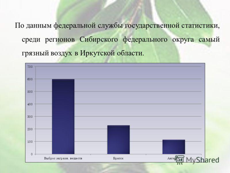 По данным федеральной службы государственной статистики, среди регионов Сибирского федерального округа самый грязный воздух в Иркутской области.