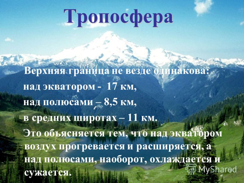Тропосфера В ерхняя граница не везде одинакова: над экватором - 17 км, над полюсами – 8,5 км, в средних широтах – 11 км. Это объясняется тем, что над экватором воздух прогревается и расширяется, а над полюсами, наоборот, охлаждается и сужается.