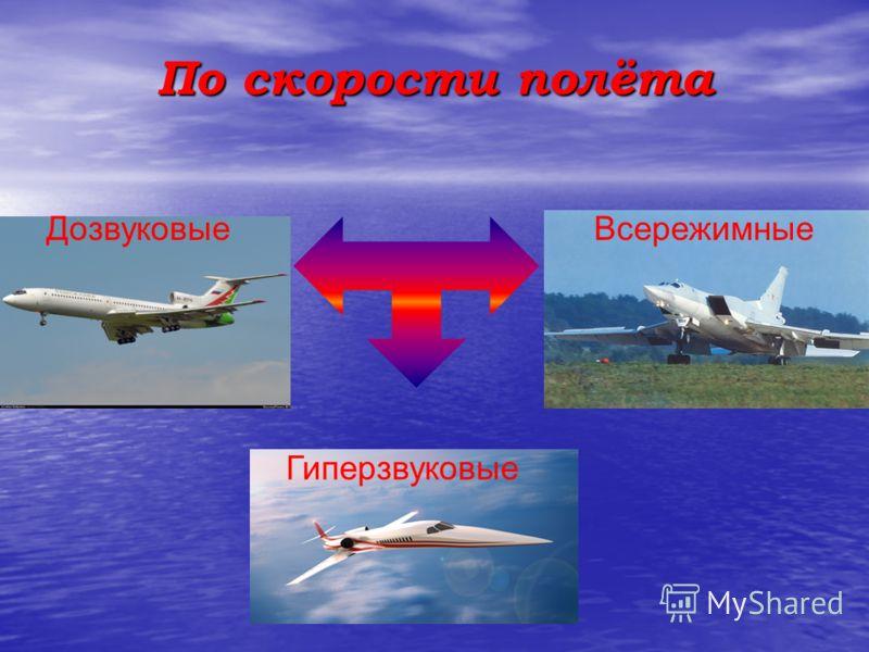 По скорости полёта ДозвуковыеВсережимные Гиперзвуковые