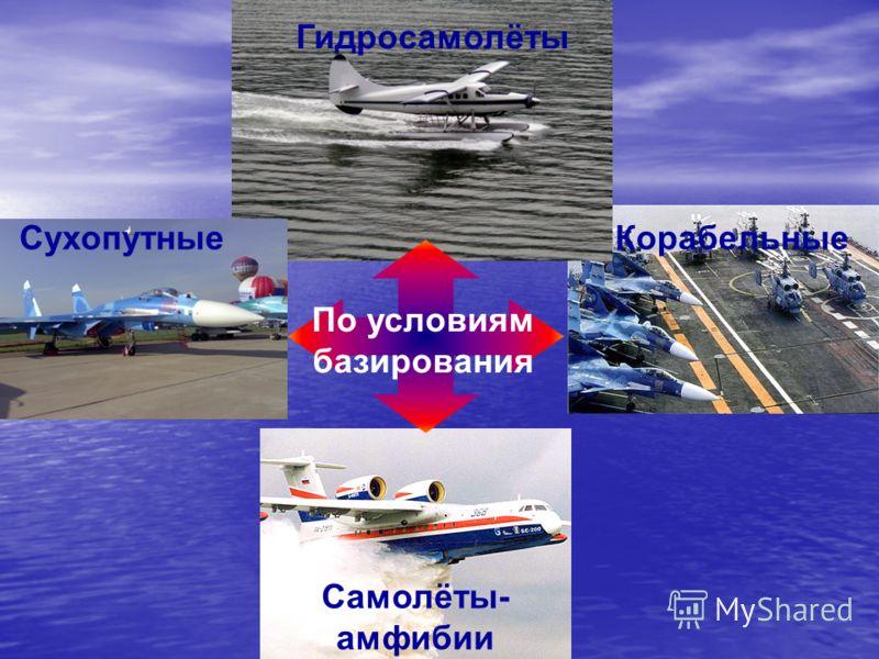 СухопутныеКорабельные Гидросамолёты Самолёты- амфибии По условиям базирования