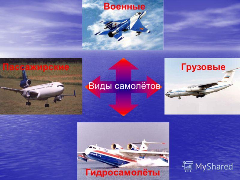 Виды самолётов ПассажирскиеГрузовые Военные Гидросамолёты