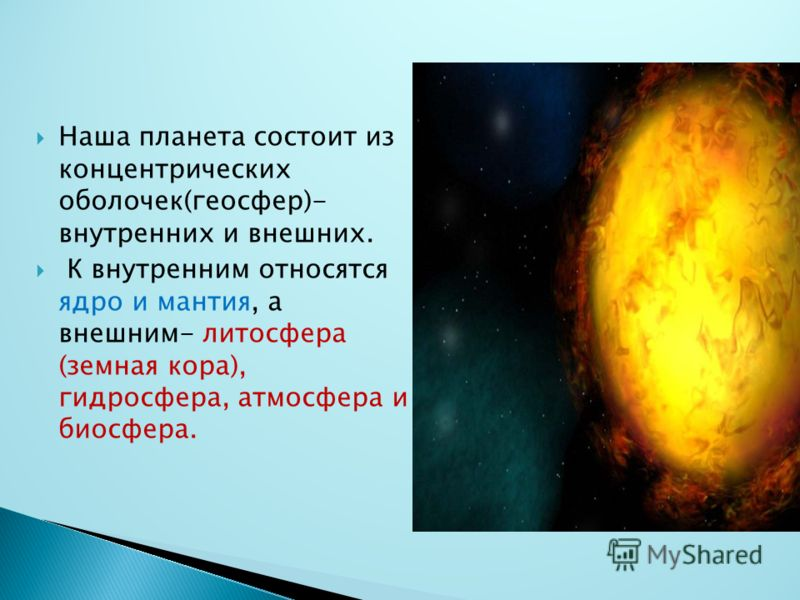 Наша планета состоит из концентрических оболочек(геосфер)- внутренних и внешних. К внутренним относятся ядро и мантия, а внешним- литосфера (земная кора), гидросфера, атмосфера и биосфера.